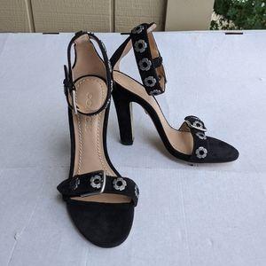 Coach Elizabeth black Suede Block Heel Sandal